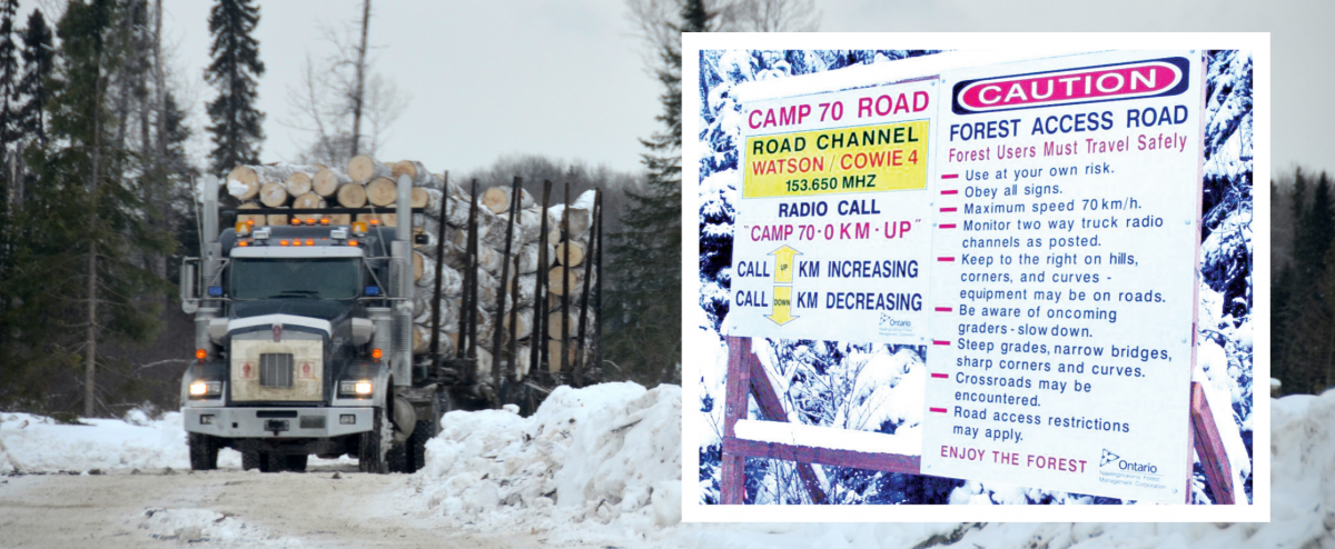 Logging truck on winter road with inset of public warning sign