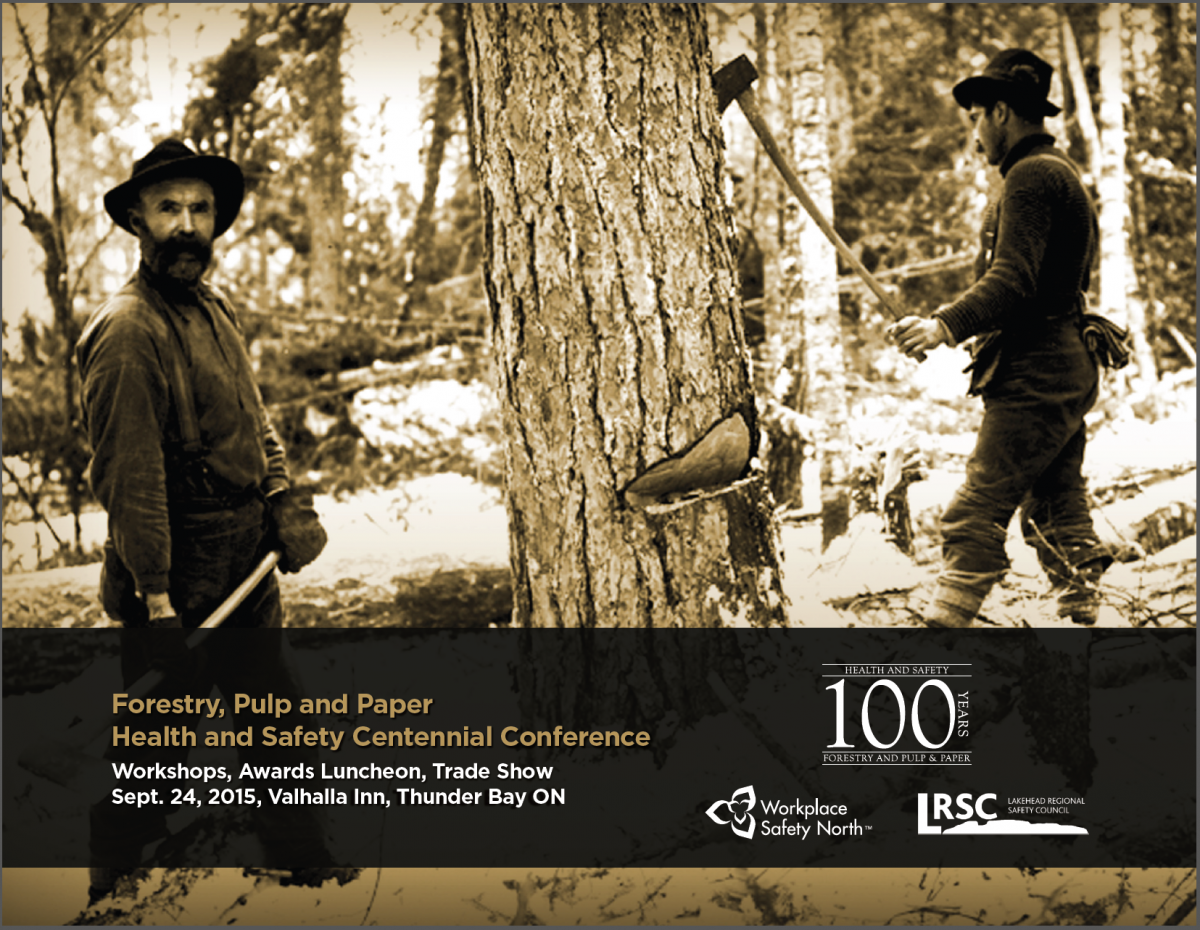 Conference poster with archival photo of two lumberjacks