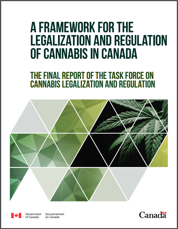 Cover of Government of Canada final report from the Marijuana Task Force