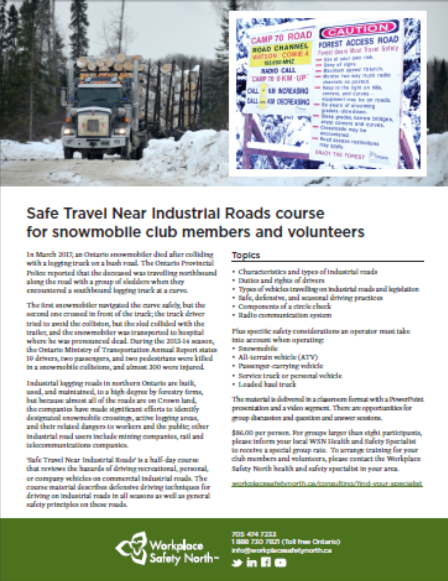Cover of information sheet for safe snowmobile travel near forest access roads